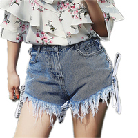 Sexy Side Lace Up Tassel Denim Shorts Women Hollow Out Pocket Blue Short Jeans Summer 2017