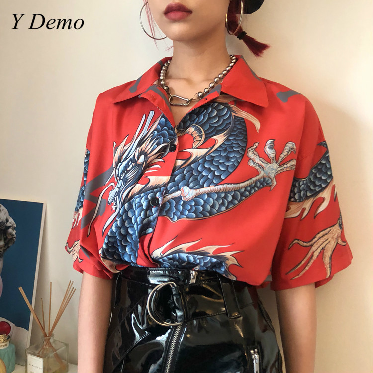 Retro Chinese Style Dragon Printing T-shirt Single Breasted Women Shirt Summer