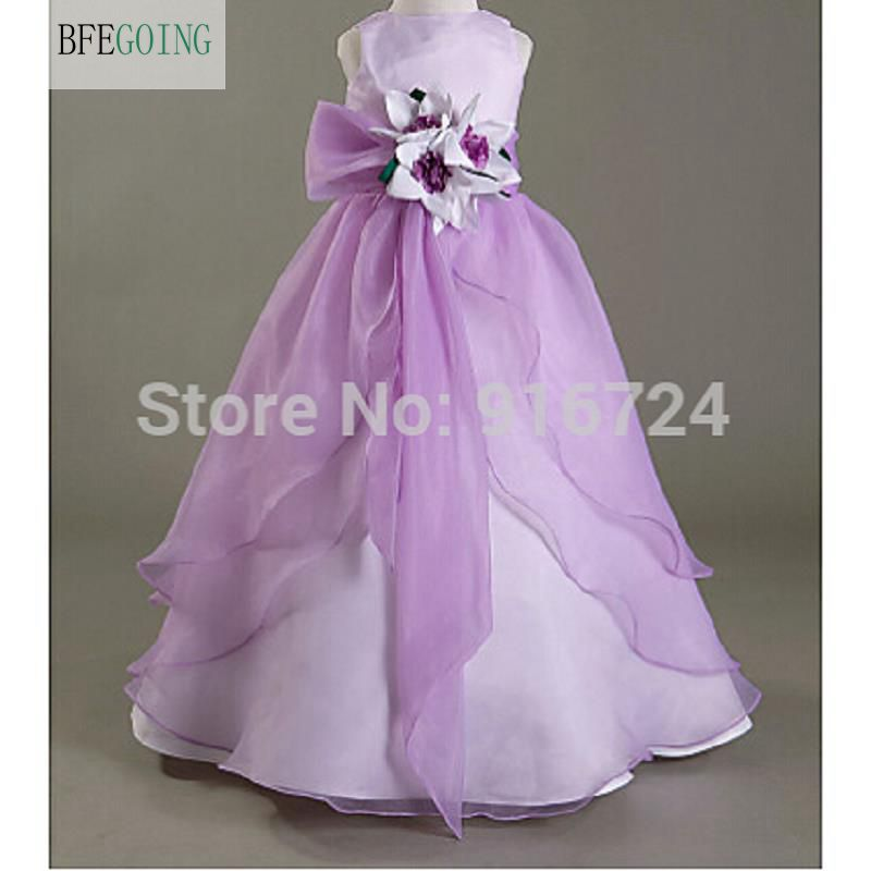 A-line Scoop Floor-length Satin Organza Flower Girl Dress with Flowers Baby girl dresses