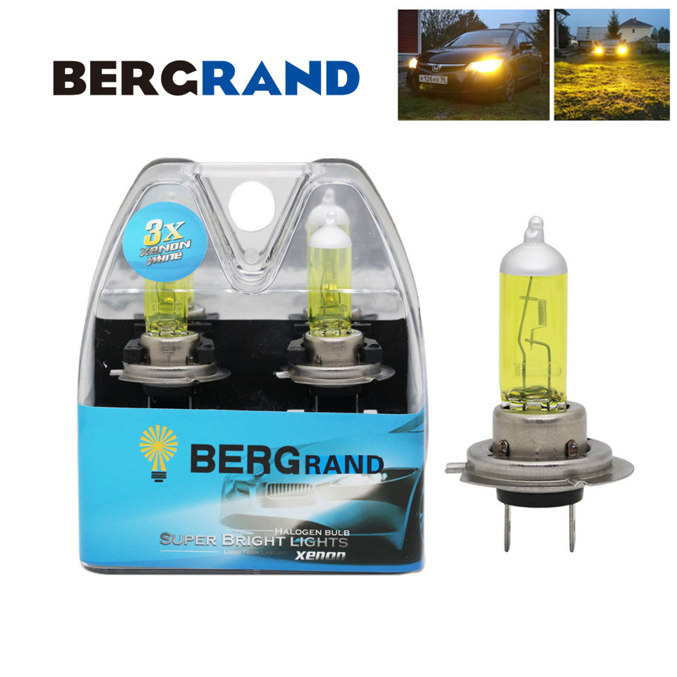 2PCS H7 Yellow Halogen Bulb 12V 55W Xenon 2700K Hard Glass Headlight Bulb Fog Light bulbs for auto 30% Brighter For Bad Weather