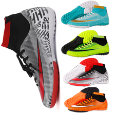 Купить с кэшбэком Kids Boy Girls Outdoor Soccer Cleats Shoes TF/FG Ankle Top Football Boots Soccer Training Sneakers Child Sports Shoes EU32--40