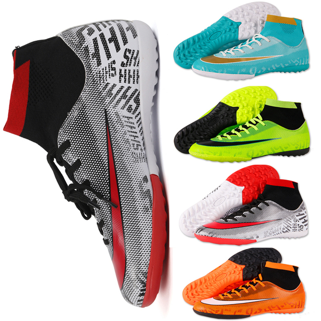 a120e8670 Kids Boy Girls Outdoor Soccer Cleats Shoes TF/FG Ankle Top Football Boots  Soccer Training Sneakers Child Sports Shoes EU32--40