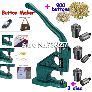 Free Shipping Industrial Grommet Button Maker Hand Press Presser  Eyelet Punch Tool For Banner Bags Shoes 3 dies 900 buttons