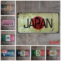 15x30cm vintage license plates flag banner japan UK italy canada mexico iron painting wall sticker number plate metal craft