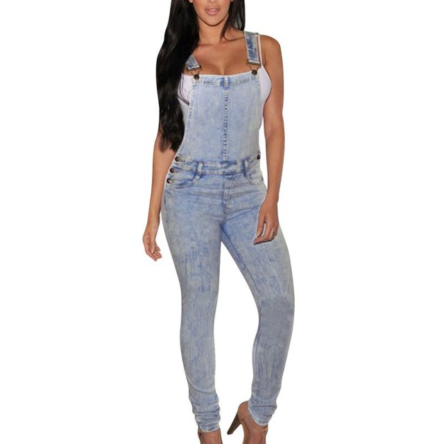 Hot Sell Women New Fashion Chic Women Girls Washed Jeans Casual Hole Mid Full Length Jeans Summer Drawstring Overalls WY-01