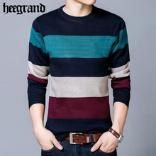 HEE GRAND 2017 Autumn Winter Warm Sweater Men's Knitted Cashmere Wool Pullover Man Fashion Striped O-Neck Male Sweaters MZL696