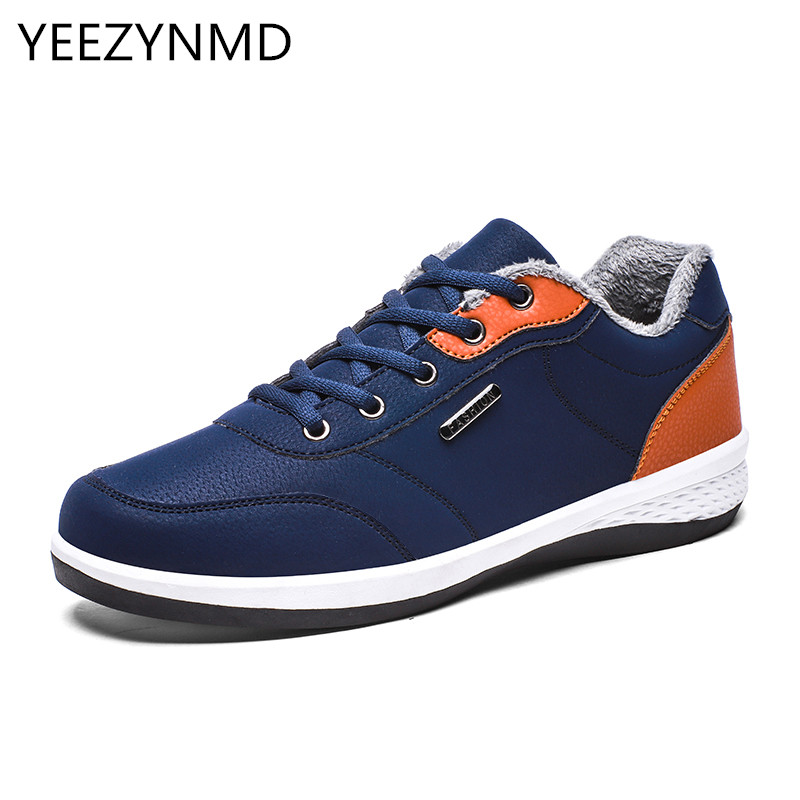 Winter Warm Mens Casual Shoes PU Leather Lace-up Durable Short Plush Black Grey Blue Leisure Fur Male Footwear 2016 new autumn winter man casual shoes sport male leisure chaussure laced up basket shoes for adults black