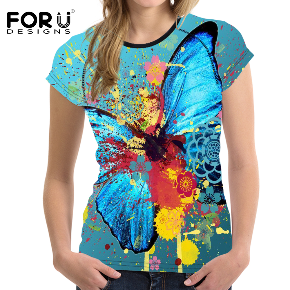 FORUDESIGNS Short Sleeve T Shirt Women 3D Butterfly Pattern Shirt Breathable Summer t-shirt Female Sexy Tops Tee Plus Size S-XXL