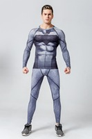 Mens Compression Batman Set Suit Long Sleeve Gym Clothing Sets Compression T Shirt Tights Pants Leggings