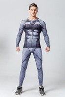 Mens Compression Batman Set Suit Long Sleeve Gym Clothing Sets Compression T Shirt Tights Pants Leggings