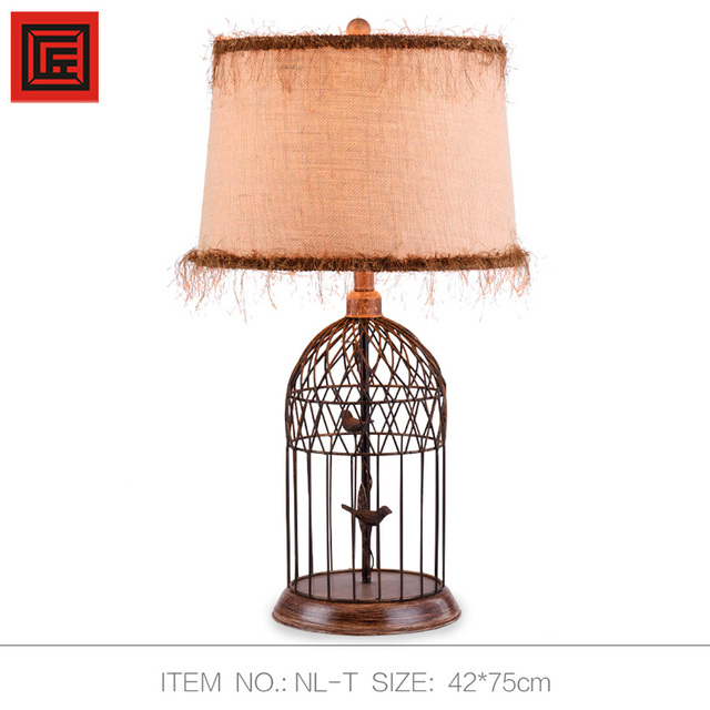 European Classical Bird Cage Table Lamp 75cm E27 Desk Lamps For