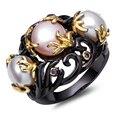 Dc1989's special mulheres preto anel banhado a rosa e branco cultivadas de água doce pérola montado por banhado a ouro roxo cz frauenringe