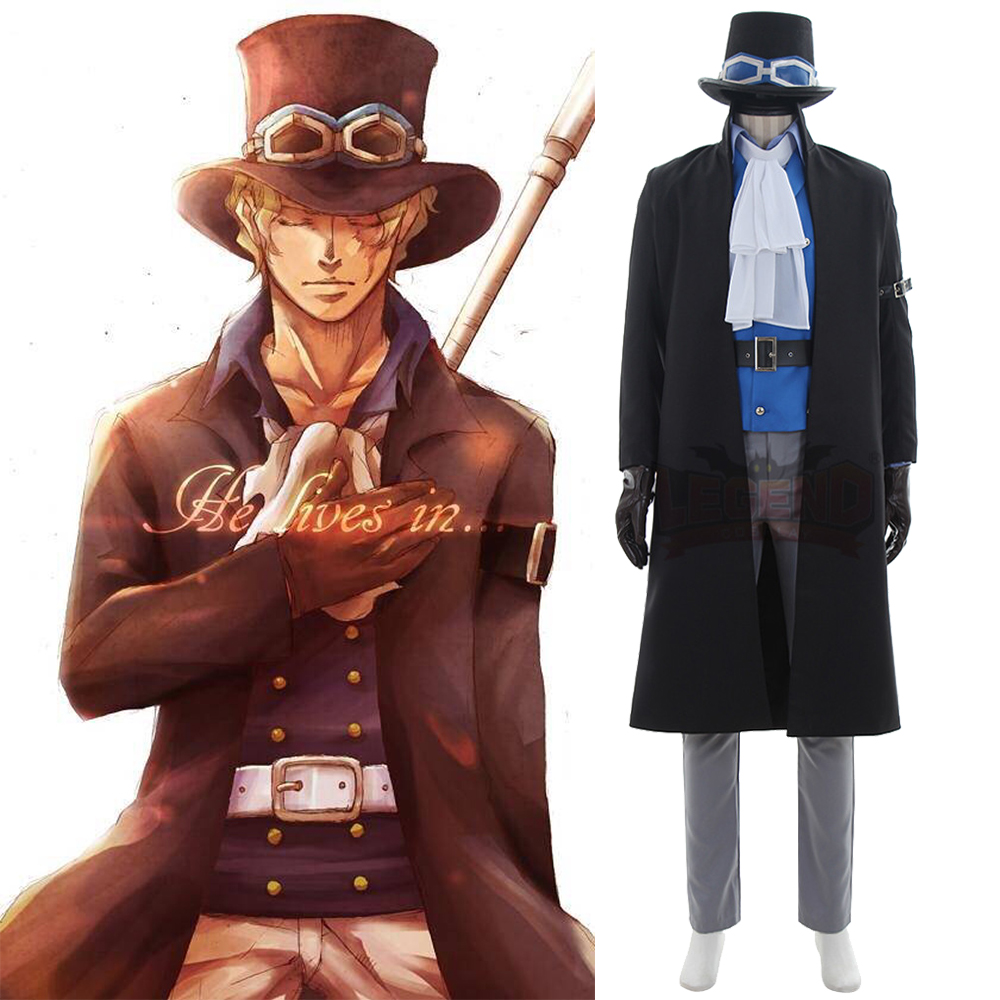 cosplay anime One Piece Sabo Cosplay Costume black with hat Cosplay adult costume 2017  custom made halloween men costume