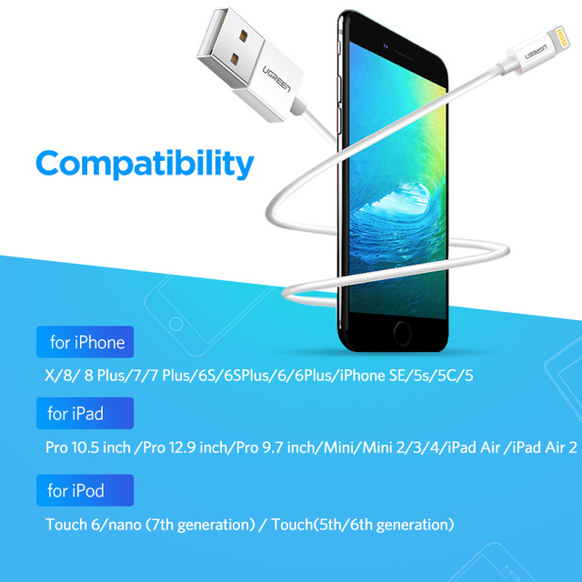 Ugreen MFi Lightning to USB Cable for iPhone X 7 6 5 6s Plus Fast Charging USB Data Cable for iPhone 5s 5C SE Mobile Phone Cable 3