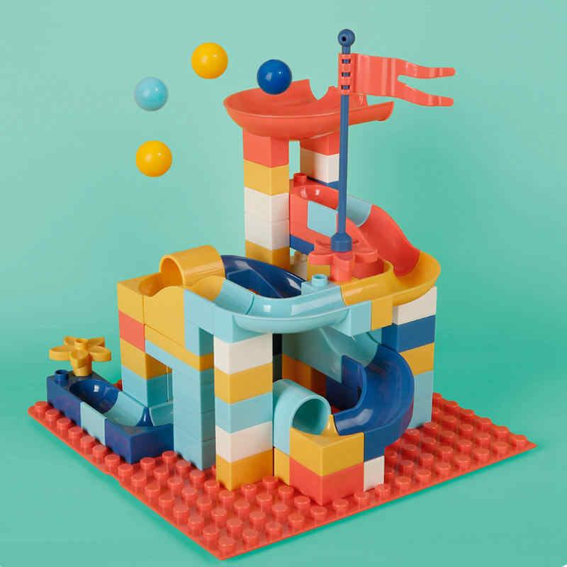 Beiens ビッグサイズビルディングブロック 95-154 個 Diy のおもちゃ子供のための大理石レースランランニングシューズメンズトラックブロック子供迷路ボール漏斗スライドブロック