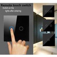 EU UK Standard 1 2 3 Gang 1 Way Light Switch Black Crystal Glass Wall Touch