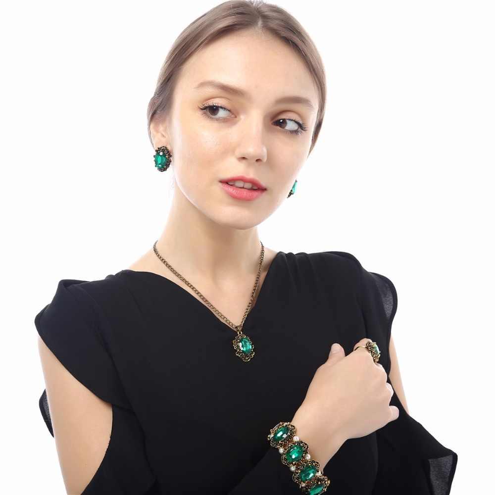 3 trong Bộ Nữ Phụ Kiện Đảng bóng trang sức cho ban đêm ăn tối vợ bạn gái bông tai vòng cổ vòng tay 1105