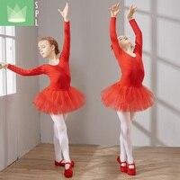 Bambini di Balletto, Danza Gonna A Maniche Lunghe Bambini Pratica Danza Delle Ragazze del Vestito Baleet Danza Vestiti Delle Ragazze Del Merletto Costume B-4640