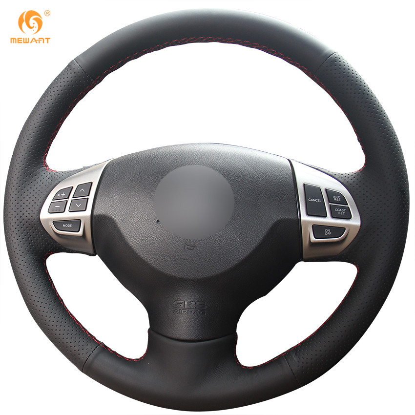 MEWANT Black Artificial Leather Steering Wheel Cover for Mitsubishi Lancer X 10 2007-2015 Outlander 2006-2013 ASX 2010-2013 mewant black genuine leather black suede car steering wheel cover for mitsubishi lancer ex outlander asx colt pajero sport