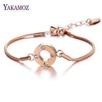 YAKAMOZ OL Style Cubic Zirconia Round Fashion Charm Bracelets Bangles Rose Gold Color Crystal Jewelry Gift