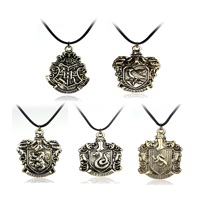 5 Gryffindor Slytherin Ravenclaw Hufflepuff Hogwarts Badge Necklace Pendant Brand Jewelry Maxi Statement In Necklaces From