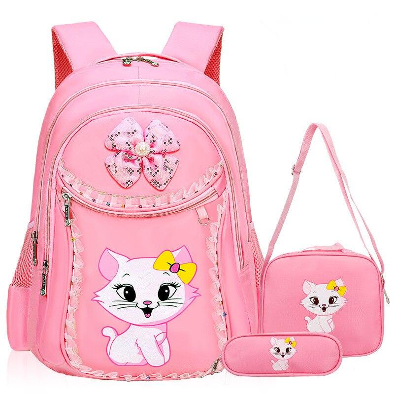 Fashion Sweet Cat Girl's School Bags Cartoon Pattern Kid Backpack Children School Backpack Girl Satchel Bag Pencil Bags Mochila