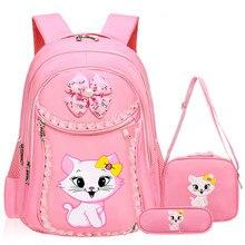 패션 달콤한 고양이 소녀 학교 가방 만화 패턴 아이 배낭 어린이 학교 배낭 소녀 satchel 가방 연필 가방 mochila