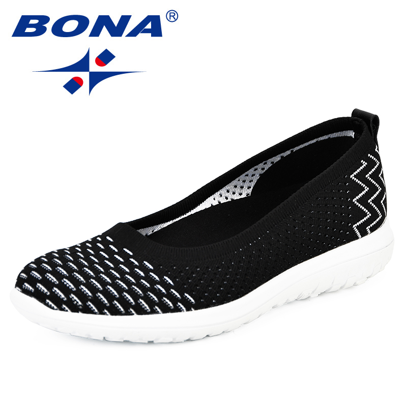 BONA New Style Shoes 2018 Fashion Tenis Feminino Light Breathable Mesh Shoes Woman Casual Shoes Sneakers Comfy Hombre Mujer Girl-in Women's Flats from Shoes    1