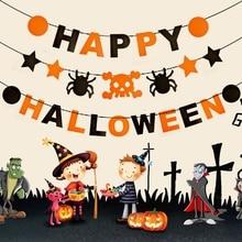 Halloween Party Decoration Banner Happy Wreath Garland Spider Pumpkin Bat Streamer Outdoor Decor