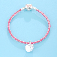 2018 Summer Jewelry Original New Design Birthday Cake Design Pendant 925 Sterling Silver Pink Color Leather Bracelet