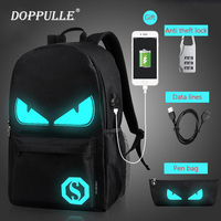 DOPPULLE 2PCS Anti Theft Laptop School Backpack Student Luminous Animation School Bags For Teenager USB Charge