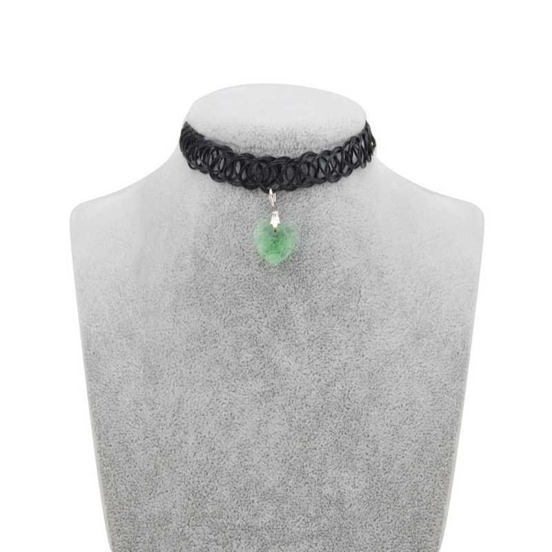 Moda nowa gorąca sprzedaż kryształowe serce tatuaż Choker Stretch naszyjnik kobiety w stylu Vintage elastyczna Choker naszyjniki biżuteria dziewczęca DIY prezent