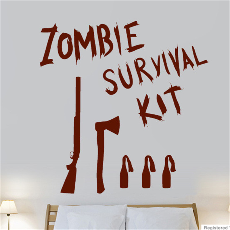 Zombie Survival Kit Game Film Cool Wall Art Stickers Decals Vinyl Home Room Deco Wall Stickers Decorative Art #M232