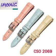 Uyoung 18*14mm de color rosa/azul/amarillo correa de cuero adecuado para las mujeres de la correa ltp-2069l-4a