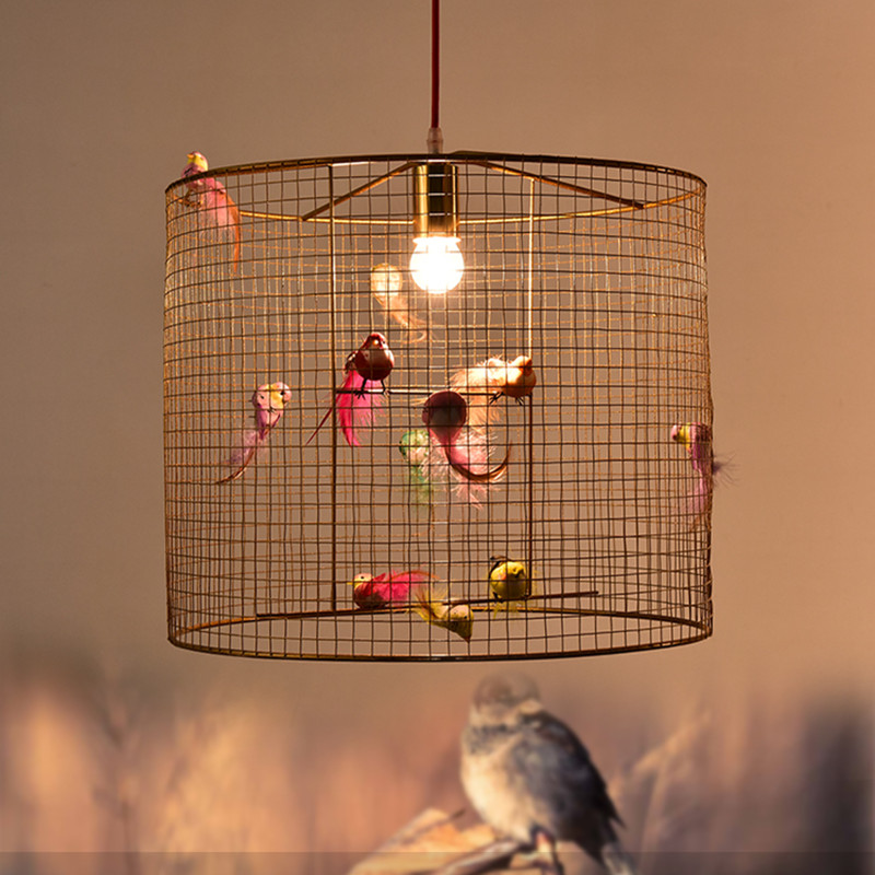 Modern Rural Study Restaurant Pendant Light Fashion Living Room Cafe Art Golden Bird Cage Suspension Light