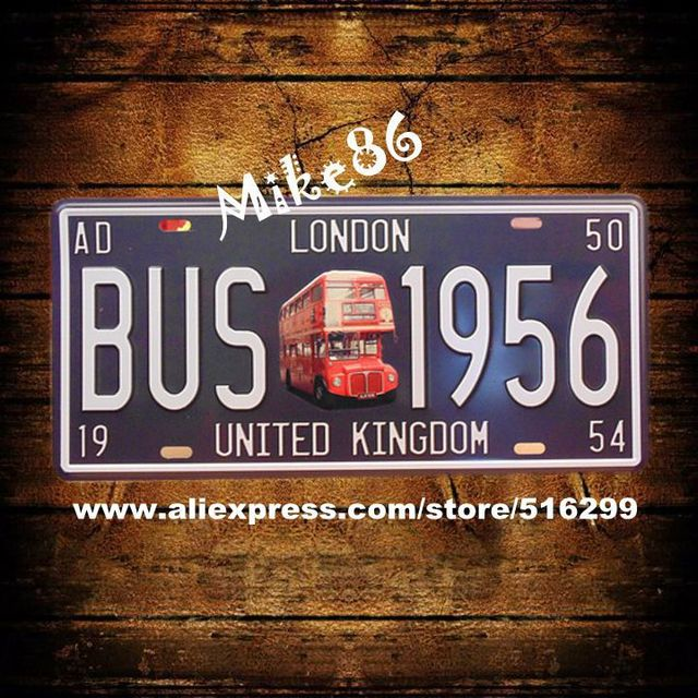 mike86 ] bus 1956 london license plates vintage wall plaque decor