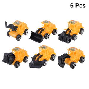 Image 1 - 6pcs מיני בניית משאית הנדסת רכב צעצועים חינוכיים משאית דגם צעצועי עוגת טופר ילדים מסיבת יום הולדת קישוט