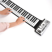 Portable 61 Keys Roll-up Soft Keyboard Flexible Silicone MINI Digital Piano Roll Up Hand with Speaker