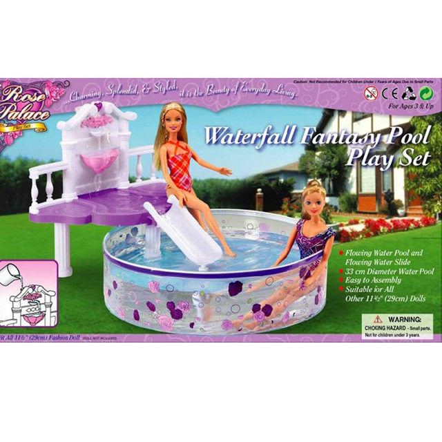 Swimming pool toy case for Barbie doll big toy beach accessories square pool beach toys can be slippery slide