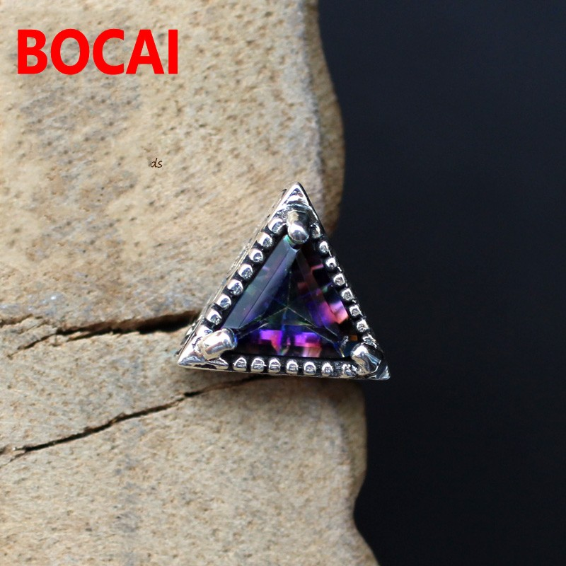 925 Silver Earrings genuine colorful blue triangle ms.man retro texture import Silver Earrings