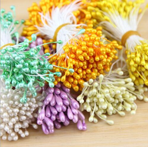 Новый год украшения 100 шт./лот мини жемчужный цветок тычинки цветочные тычинки для DIY торт свадебное украшение искусственное цветы