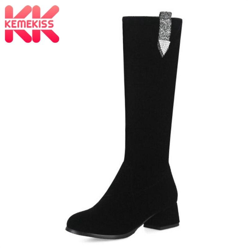 Kemekiss Largas Mujer Invierno 33 Negro Rodilla Botas Brillo Zapatos Cristal Calzado Tamaño Piel Moda Caliente 41 Sexy Mujeres De wwAPrWqd