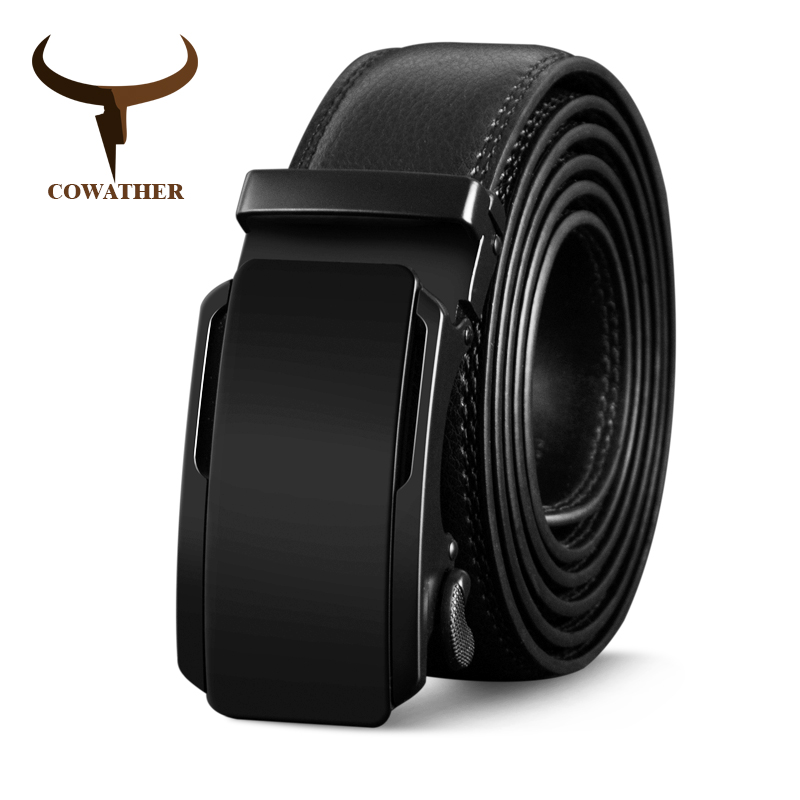 COWATHER High Quality Cow Genuine Leather Belts For Men New Arrival Automatic Buckle Male Strap Metal Buckle Cowhide Men Belt
