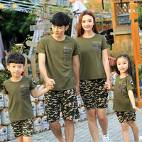 Family Fashion Summer Family Set 2016 Family Pack Camouflage Set Tendrils Mother And Child Clothes For