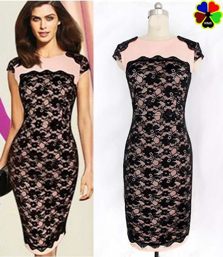 1204feb4e03e Somx Women Fall 2015 New Fashion Pink Black Lace Dress Big Size Floral  Sleeveless Vestidos Tallas Grandes Lace Bodycon Dress S91-in Dresses from  Women s ...