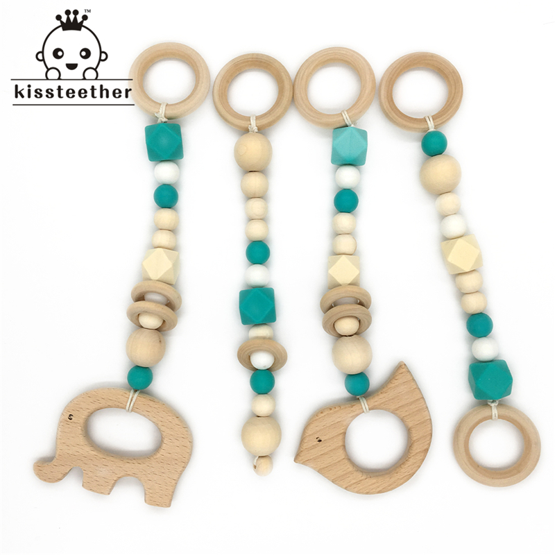 Baby Teether Toy Wooden 4 Pcs Set Baby Gym Toy Toddler Teething BPA Free Silicone Beads Maple Beads Charms Wooden Teether Toy