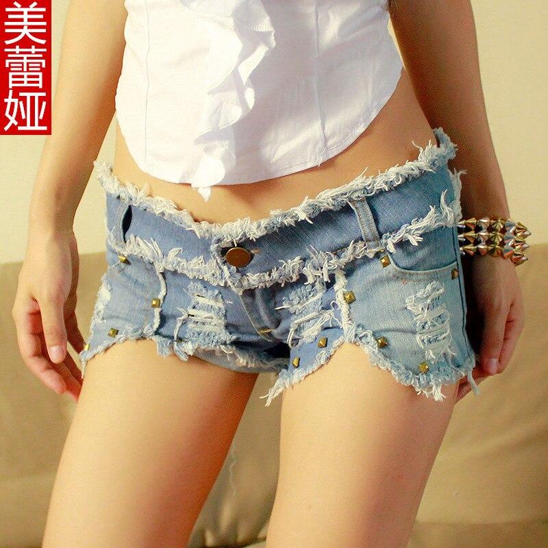 European Style Slim Sexy Women Shorts Fashion Frayed Tassel Denim Shorts Washed Sexy Low Waist Super Shorts Summer Jean Shorts