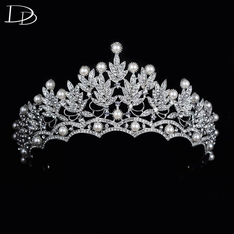 DODO Gorgeous Queen Crown Wedding Hair Accessories For Bride Vintage Pageant Tiara Shining Rhinestone Diadem Hair Jewelry HF057