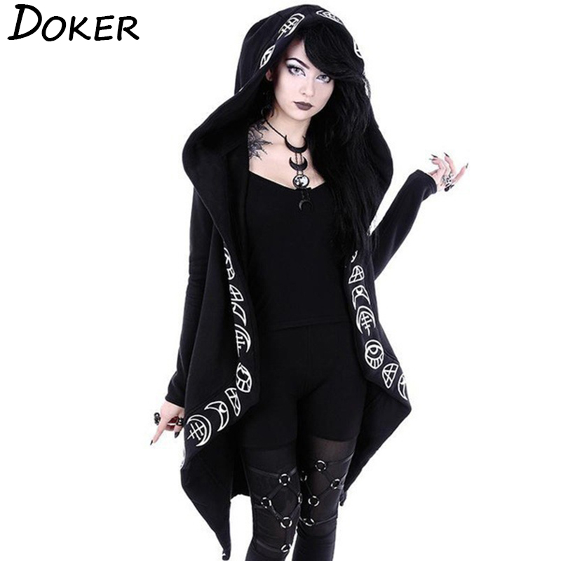 Gothic Punk Black Long Women Hoodies Sweatshirts 2019 Autumn Moon Print Long Sleeve Hoodie Women Loose Coat Hooded Sweatshirt