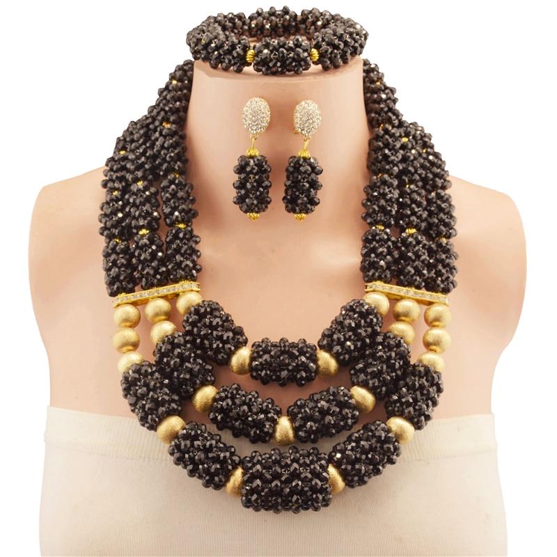 Fait à la main en cuivre 2018 nigérian mariage perles africaines ensemble de bijoux perles de cristal noir collier ensemble de bijoux livraison gratuite